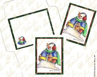 Snowman Note Card & Envelope Set 1 - Digital Stationery - Instant Download - Printable Files - JPG + PDF Formats