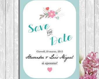 PDF,Save the date cards printable with little flowers, unique save the dates invitations, wedding shower invitation
