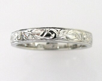 3mm Hand Engraved Wedding/Anniversary Band Vine and Leaf in 14k white gold with Milgrain Edge