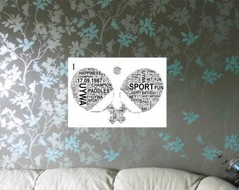 Table Tennis - Personalised Word Art Print. 3 Variations. FREE UK P&P. Unique Sports Gift,