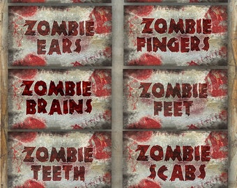 Zombie Labels Halloween party zombie party jar labels printable INSTANT DOWNLOAD
