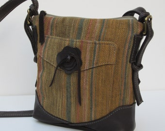SHOULDER BAG by Elizabeth Z Mow Fabric and Brown Leather