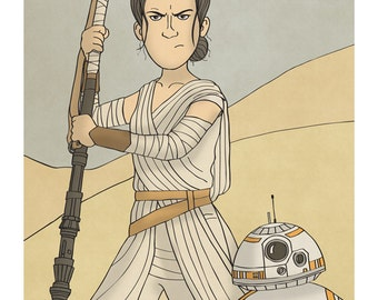 Rey and BB-8 - Star Wars - The Force Awakens - Illustration Print