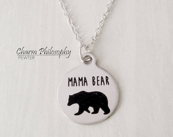 Mama Bear Necklace - Mom Jewelry - Mothers Day Gift - Mothers Necklace