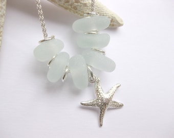 Starfish jewelry  Sea glass necklace  Starfish pendant sea glass custom