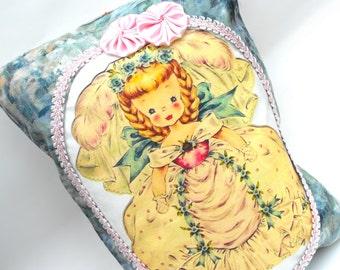 Hallmark Doll Pillow Fairytale Waldorf Wedding Cinderella Bride Ring Bearer Flower Girl Gift Pastel Pink Blue Satin Rosettes & Pocket Decor