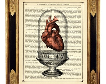 Anatomical Heart Art Print Glass Dome Valentine's Day Love Gothic Steampunk - Vintage Victorian Book Page Art Print