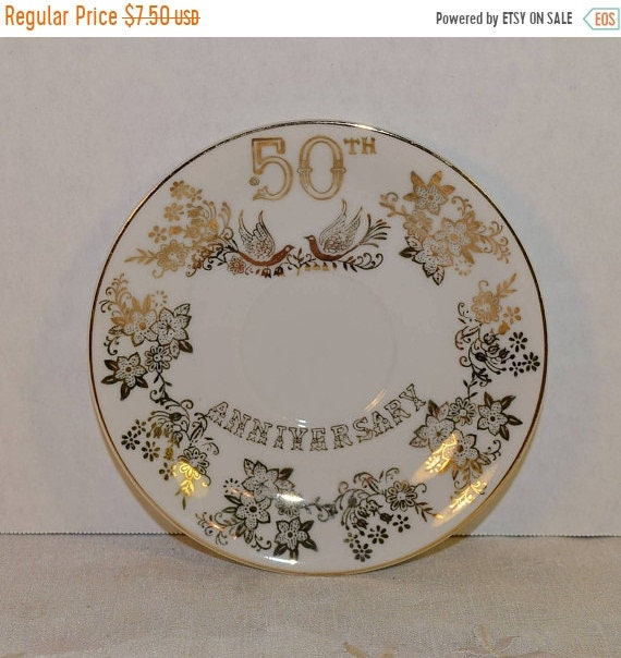 Delayed Shipping Japan 50th Anniversary Saucer Vintage Golden 50th Wedding Anniversary Plate Doves Birds Flowers Gold Wedding Gift Plate Cou