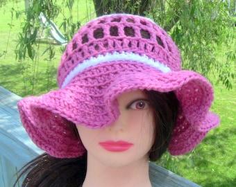 Gift For Her, Summer Beanie, Sun Hat, Beach Hat, Pink and White Beanie, Pink Sun Hat, Beach Hat