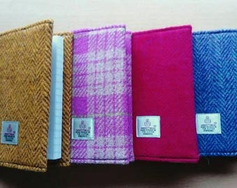 Harris Tweed A6 Size Covered Notebooks with Lined Paper Notebbok and Harris tweed Tag