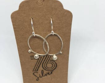 Stirling silver hammered hoops earrings with silver nuggets