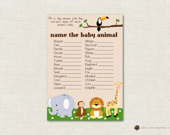 Safari Name the Baby Animal Baby Shower Game - Jungle Animal Shower Baby Animal Game, Guess the Baby Animal Game, Zoo Animal, Printable, DIY