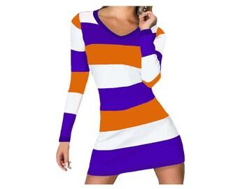 Orange + Purple Stripe Spirit Dress