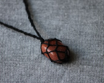 Goldstone Macrame Necklace - Black