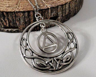 Recovery Sobriety Necklace - AA, NA, Alcoholics Narcotics Anonymous, Sober, Sobriety, One Day at a Time, Celtic Pendant