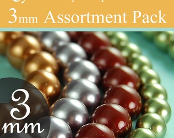 Swarovski beads pearl assorted diy kit 3mm beads, Style 5810 You pick the colors, packages of 10 (100 total)