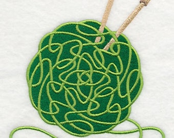 Celtic Knotwork Knitting Yarn and Needles Embroidered Flour Sack Hand/Dish Towel