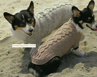 Dogs Classic Aran & Cable Coat, Knitting Pattern. PDF Instant Download.