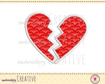 Broken heart embroidery design for patch