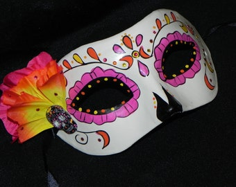 Pink, Orange and Yellow Day of the Dead Mask with Skull Accent - Halloween Mask