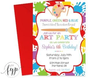 Art Party Invitation, Art Party Invite, Art Party, Art Birthday Invitation, Girls Art Party, Painting Party Invites, Printing Service