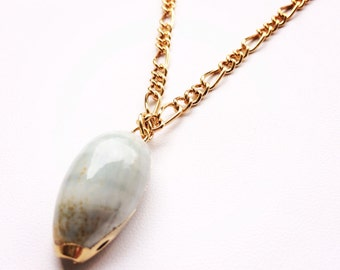 Baby Blue Conch Shell Necklace- Laced with Liquid Rose Gold- MALIBU Collection- Summer 2014