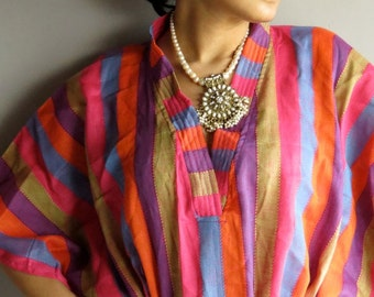 Multicolored lines kaftan - Perfect long dress, beachwear, spa robe, make great Christmas, Valentine Day, Anniversary or Birthday gifts