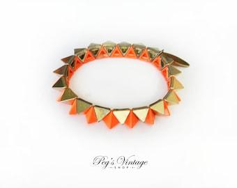Vintage Orange & Gold Spiky Stretch Bracelet - Cara NY Jewelry
