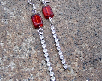 Eco-Friendly Dangle Earrings (Pierced Ears) - Puttin' On The Ritz - Recycled Vintage Ruby Red Glass Beads, Clear Prong-Set Rhinestone Strips