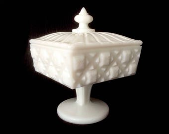 Westmoreland Milk Glass Footed Square Candy Dish/ Antique Milk Glass