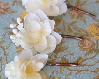 Delicate Ivory Flower Bloom Bobby Pin Bride Bridal Bridesmaid Spring Wedding Bobbies, Lacy Flowers Pip Berries LYNNETTE Bronze Pins