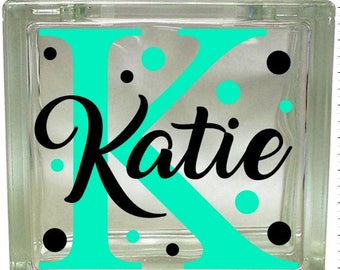 Vinyl decal, Glass block decal, Polka Dots, Personalized, Name, Initial, Craft, DIY, Nightlight, Gift, Sticker, Label, Block Decal