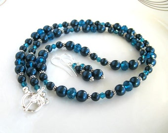 Crystal and Peacock Blue Pearl Necklace Set with Matching Earrings Swarovski Blue Necklace Set (24 Inches)