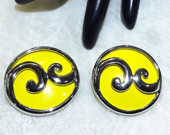 Very Nice Vintage Yellow Enamel Earrings