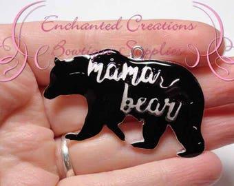 "2"" Mama Black Bear Charm, Chunky Pendant, Keychain, Bookmark, Zipper Pull, Chunky Jewelry, Purse or Planner Charm, See Baby Bear Charm Too"