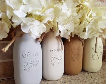 Painted Milk Jars, Farmhouse Kitchen, Rustic Kitchen Decor, Painted Jars, Farmhouse Decor, Rustic Farmhouse Table Decor, Country, Farmhouse