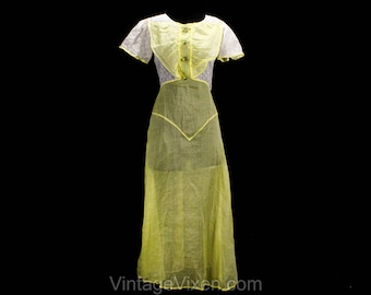 Size 2 1930s Dress - XS Authentic 30s Summer Frock - Sheer Yellow & White Cotton Organdy - Terrific Novelty Fruit Buttons - Bust 32 - 50196