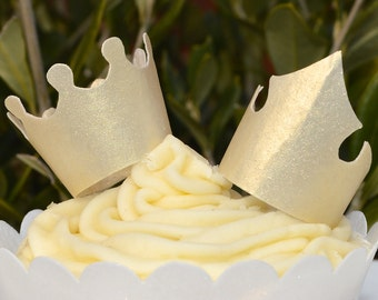 Edible Royal Gold Crowns Tiaras 3D King Queen Princess Prince Wafer Rice Paper Birthday Decorations Golden Metallic Party Cupcake Topper RTD
