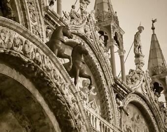 Saints in the Piazza - Venice, Italy - Fine art travel photo - Basilica church architecture - Sepia