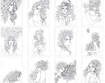 Prima - My Prima Planner - Coloring Tabbed Dividers 12 Pack Princesses - Flowers In Her Hair