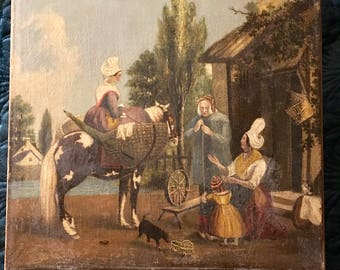 flemish oil painting from 19th century depicting traditional costumes and pastoral scene