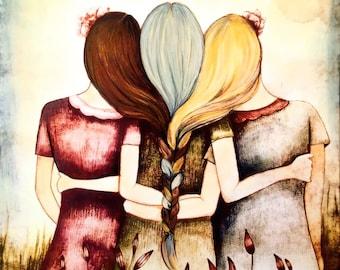 Three sisters/ mother daughters  art print