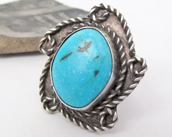 Big Turquoise Ring, Sterling Silver Ring, Southwestern Jewelry, Silver & Turquoise Jewelry, Vintage Turquoise Jewelry, Big Statement Ring