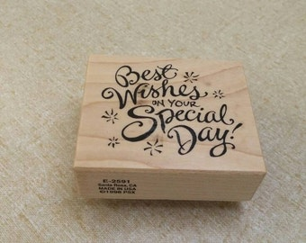 On Sale Best Wishes on Your Special Day Square Stamp for Scrapbooking or Card Making Craft Tool