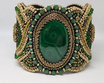Malachite Bead Embroidery Cuff