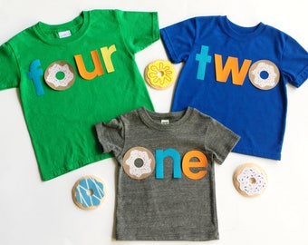 Donut Birthday. Donut.Donut Theme Birthday. One. Two.Four. Gender Neutral. Fabric Iron On Appliques