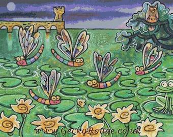 Frog Cross Stitch Kit, Dragonfly needlecraft, Licensed Art, Dorian Spencer Davies Art, DMC Materials, Counted cross stitch pattern, Fun Art