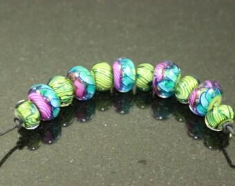 Colorful Lampwork Bead Set of 11