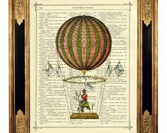 Airship Hot Air Balloon II - Vintage Victorian Book Page Art Print Steampunk
