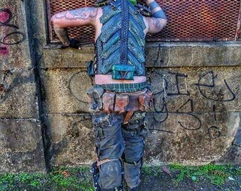 ON SALE. Post Apocalyptic Dragon Armored Vest (adjustable with removable sholder armor)
